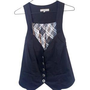 AE black vest with plaid back! Size 14 plus curvy
